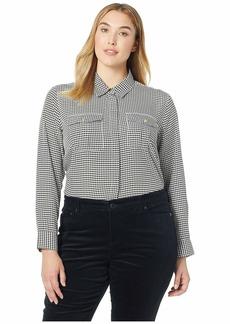 Ralph Lauren Plus Size Crepe Button Down Shirt