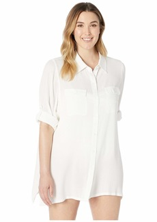 Ralph Lauren Plus Size Crinkle Rayon Cover-Up Camp Shirt