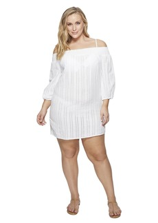 Ralph Lauren Plus Size Dobby Smocked Off the Shoulder Tunic Cover-Up
