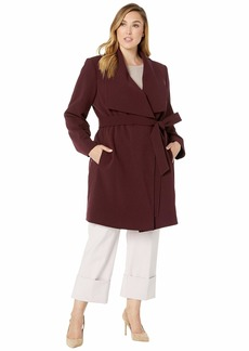 Ralph Lauren Plus Size Drape Front Belted Coat