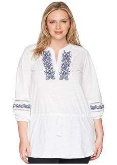Ralph Lauren Plus Size Embroidered Cotton Top