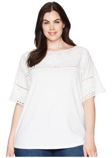 Ralph Lauren Plus Size Eyelet Cotton-Blend T-Shirt