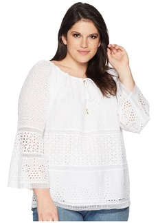 Ralph Lauren Plus Size Eyelet Lace Cotton Top