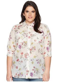Ralph Lauren Plus Size Floral Cotton-Blend Shirt