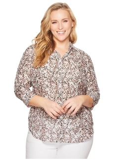 Ralph Lauren Plus Size Floral Cotton-Silk Shirt