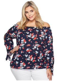 Ralph Lauren Plus Size Floral Jersey Off the Shoulder Top