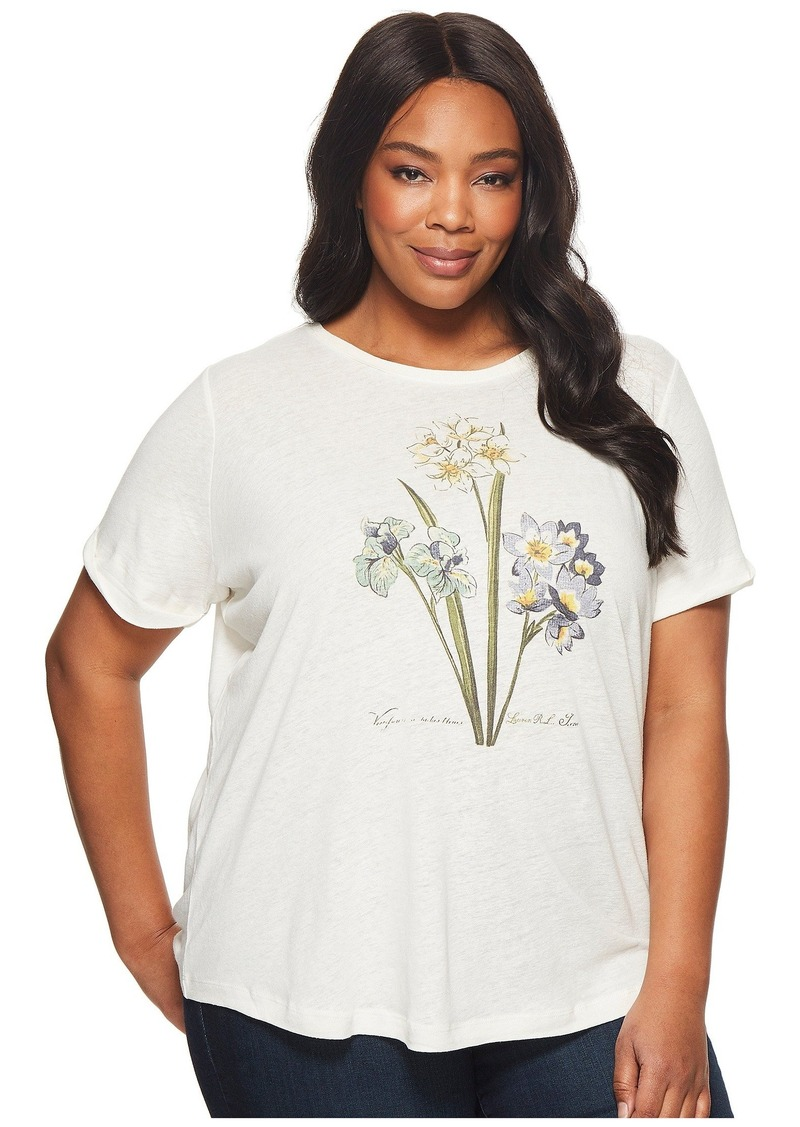 Ralph Lauren Plus Size Floral Linen-Blend T-Shirt