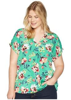 Ralph Lauren Plus Size Floral-Print Crepe V-Neck Top