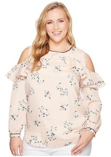 Ralph Lauren Plus Size Floral Ruffled Cold-Shoulder Top