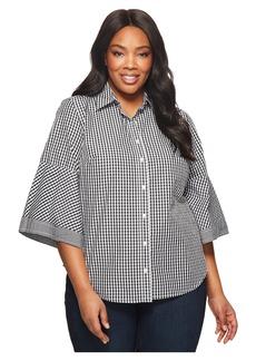 Ralph Lauren Plus Size Gingham Bell-Sleeve Shirt