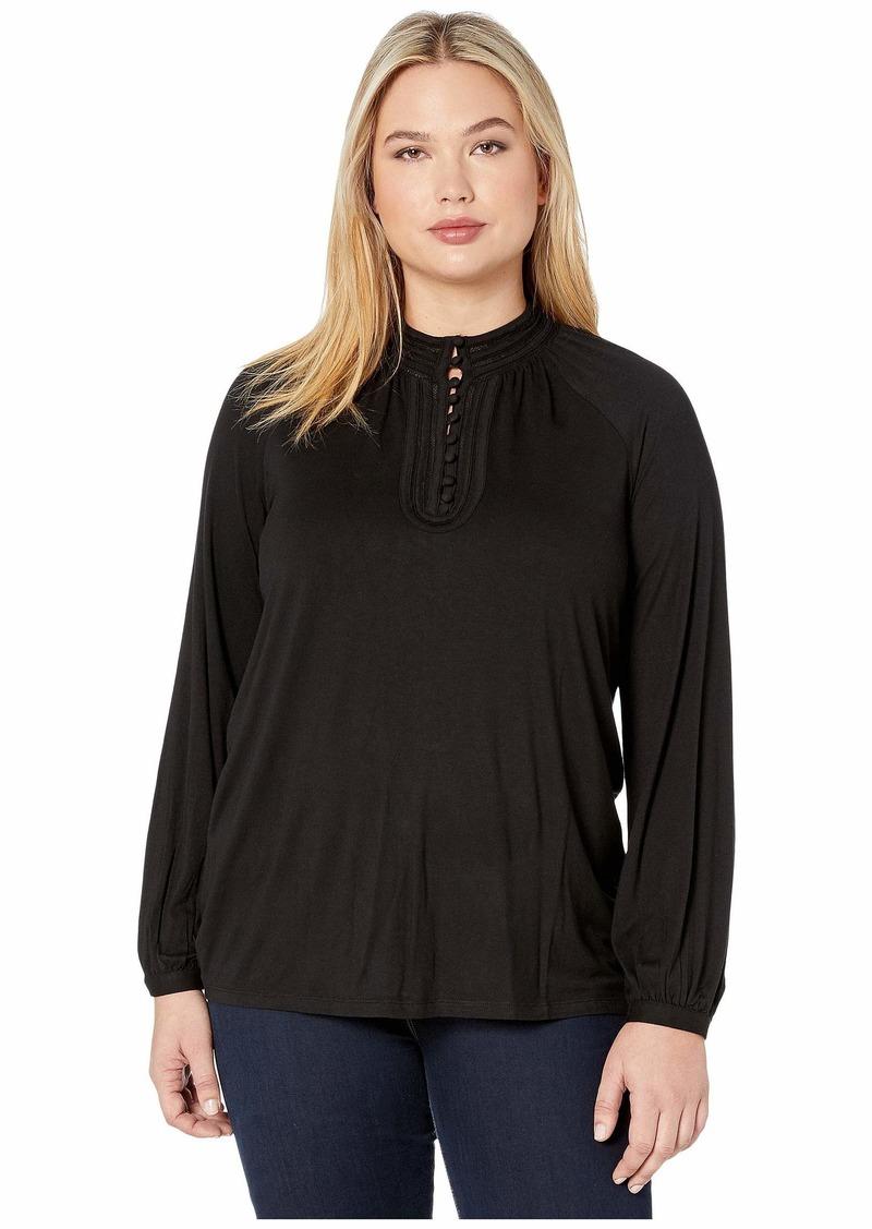 Ralph Lauren Plus Size Jersey Mock Neck Blouse