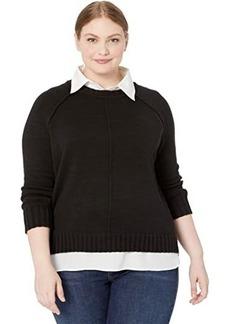 Ralph Lauren Plus Size Layered Cotton Sweater