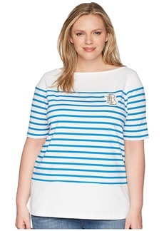 Ralph Lauren Plus Size LRL Striped Cotton T-Shirt