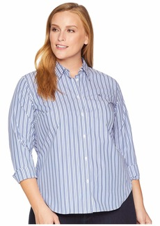 Ralph Lauren Plus Size Monogram Striped Shirt