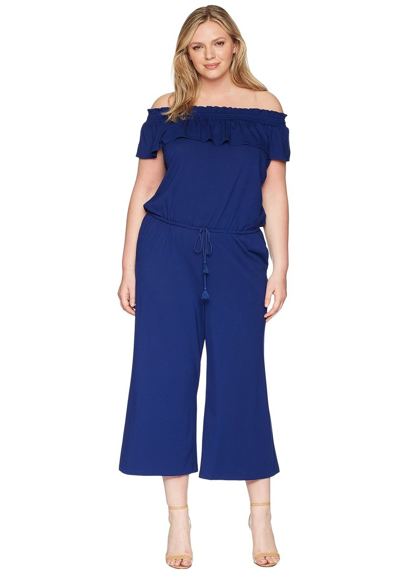 Ralph Lauren Plus Size Off the Shoulder Wide-Leg Jumpsuit