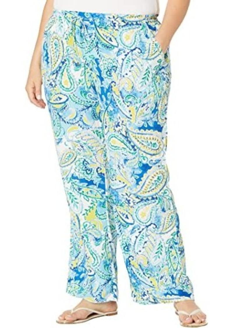 Ralph Lauren Plus Size Paisley Crepe Wide-Leg Pants