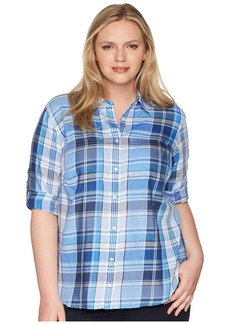 Ralph Lauren Plus Size Plaid Cotton Twill Shirt