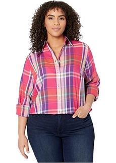 Ralph Lauren Plus Size Plaid Cotton Twill Shirt