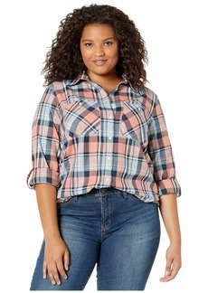 Ralph Lauren Plus Size Plaid Roll-Tab Sleeve Button-Down Shirt