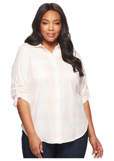 Ralph Lauren Plus Size Plaid Rolled-Cuff Cotton Shirt