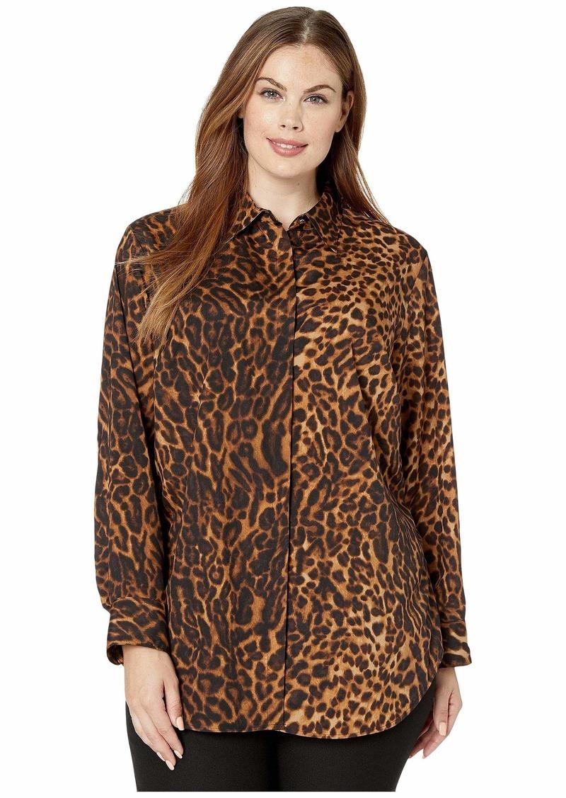 Ralph Lauren Plus Size Print Crepe Shirt