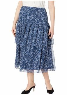 Ralph Lauren Plus Size Print Georgette Tiered Skirt