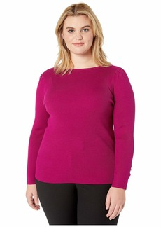 Ralph Lauren Plus Size Puff-Sleeve Boat Neck Sweater