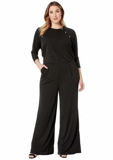 Ralph Lauren Plus Size Rivet-Trim Jersey Jumpsuit