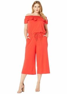 Ralph Lauren Plus Size Ruffled Wide-Leg Jumpsuit