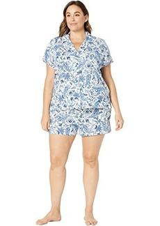 Ralph Lauren Plus Size Short Sleeve Knit Notch Collar Boxer PJ Set