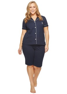 Ralph Lauren Plus Size Short Sleeve Notch Collar Bermuda Shorts PJ Set