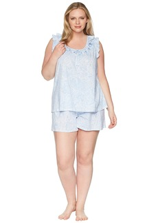 Ralph Lauren Plus Size Sleeveless Ruffle Boxer Pajama Set