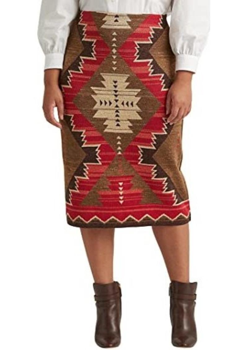 Ralph Lauren Plus Size Southwestern-Print Cotton-Linen Skirt