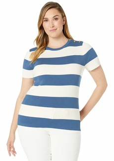 Ralph Lauren Plus Size Striped Button-Trim Sweater