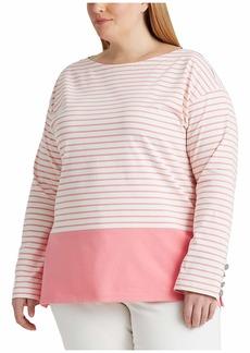 Ralph Lauren Plus Size Striped Cotton Jersey Top