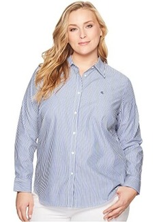 Ralph Lauren Plus Size Striped Cotton Shirt