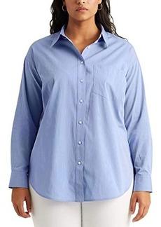 Ralph Lauren Plus Size Striped Cotton Shirt