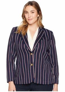 Ralph Lauren Plus Size Striped Jacquard Blazer