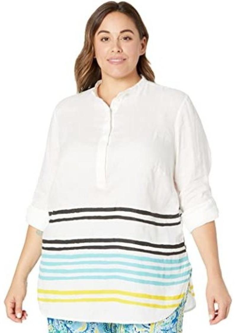 Ralph Lauren Plus Size Striped Linen Tunic