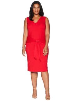 Ralph Lauren Plus Size Tie-Front Sleeveless Dress