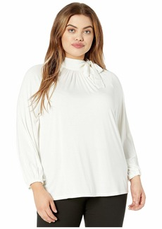 Ralph Lauren Plus Size Tie Neck Jersey Top