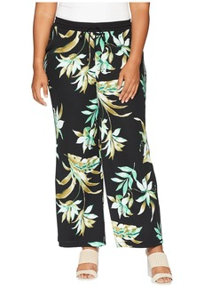 Ralph Lauren Plus Size Tropical-Print Wide-Leg Pants