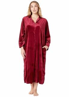 Ralph Lauren Plus Size Velvet Long Sleeve Notch Collar Zip Front Caftan