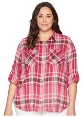Ralph Lauren Plus Size Yarn-Dyed Pomegranete Plaid Long Sleeve Shirt