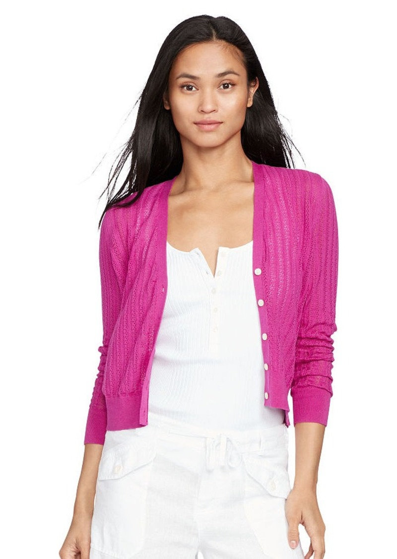 Ralph Lauren Pointelle-Knit Cotton Cardigan