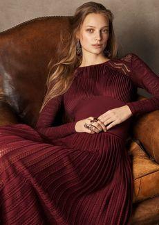 Ralph Lauren Pointelle Lace Pleated Dress