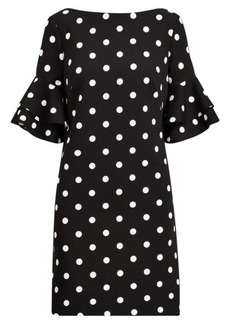 Ralph Lauren Polka-Dot Crepe Shift Dress