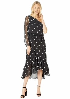Ralph Lauren Polka Dot One Shoulder Dress