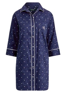 Ralph Lauren Polka-Dot Sateen Sleep Shirt