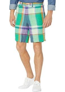 "Ralph Lauren Polo 9"" Classic Fit Linen Madras Shorts"